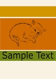 Retro tappning skissar gullig liten sömnig brunt för kattungeapelsingräsplan Fotografering för Bildbyråer
