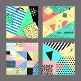 Retro tappning80-tal eller 90-talmodestil Memphis kort Stor set Moderiktiga geometriska beståndsdelar Modern abstrakt designaffis royaltyfri illustrationer
