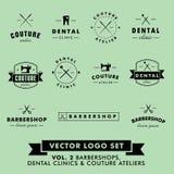 Retro tappningHipsterfrisersalong, sömnadAtelier och tand- klinikvektor Logo Set Arkivfoton