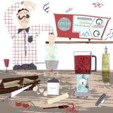 Retro tappningillustration av en man som gör ny pasta hemmastadd, medan lyssna till musik och att sjunga royaltyfri illustrationer