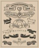 Retro tappningsnirkel och banervektoruppsättning stock illustrationer