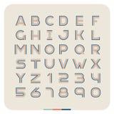 Retro tappningstilsort för översikt Latinska bokstäver med nummer Arkivbild