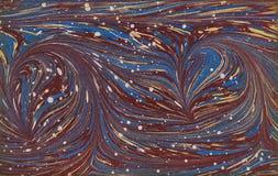 Retro tappningstrimma, färgrikt marmorerat papper Royaltyfria Bilder