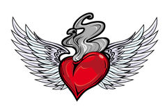 Retro tattoo with heart and fire Stock Images