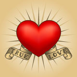 Retro tattoo heart with gold ribbons. Happy Valentine`s Day card Stock Photography