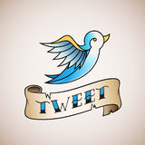 Retro Tattoo Style Abstract Vector Bird Icon with Tweet Banner. Royalty Free Stock Images