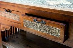 Retro tavola di legno con il cassetto aperto Immagine Stock Libera da Diritti