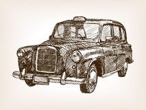 Retro taxi cab hand drawn sketch vector Royalty Free Stock Images