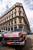 Retro taxi in Havana. Wide-angle view royalty free stock photo