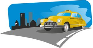 Retro taxi. Running over the city royalty free illustration
