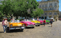 Retro taxis of Havana royalty free stock photo