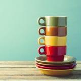 Retro tazze di caffè Fotografia Stock Libera da Diritti