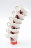 Retro tea cups pile Royalty Free Stock Photography