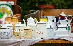 Retro tea-pots on the flea market Royalty Free Stock Photos