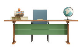 Retro teacher's desk on white Royalty Free Stock Photo