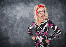 Retro teacher surprised Royalty Free Stock Photography