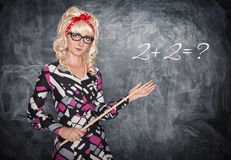 Retro teacher with wooden pointer Royalty Free Stock Image