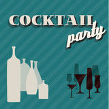 Retro teal Coctail party invitation card Royalty Free Stock Photography