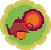 Retro teapot, cup and plate on background royalty free illustration