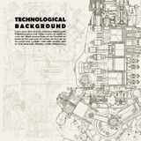 Retro  technical background, drawing  engine Stock Photography