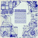 Retro   technical background, drawing  engine and space for your text. Texture of graph paper can be turned off. Retro monochrome  technical background, drawing Stock Photo