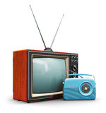 Retro technology. Creative abstract communication media and vintage television business concept: old retro color wooden home TV receiver set with antenna and Royalty Free Stock Image