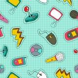 Retro technology patch icon seamless pattern Stock Image