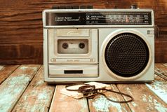 Retro technology of radio cassette recorder music royalty free stock images