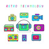 Retro technology, vector icons. Vector - Illustration - Drawing Stock Photography