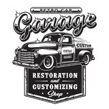 Retro tecken för bilreparationsgarage med den retro stillastbilen Royaltyfria Bilder