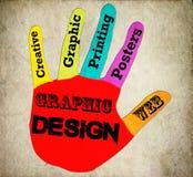 Retro tecken för grafisk design för hand arkivfoto