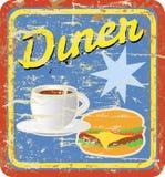 retro tecken för matställe royaltyfri illustrationer