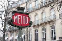 retro tecken för metro Arkivfoto