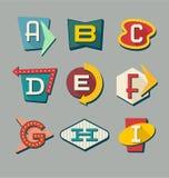 Retro teckenalfabet Bokstäver på tappningstiltecken stock illustrationer