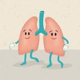 Retro tecknad film av mänskliga lungatecken Arkivfoto