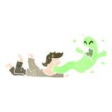 retro tecknad filmman som är besatt vid spöken Royaltyfri Foto