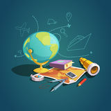 Retro tecknad filmuppsättning för geografi vektor illustrationer