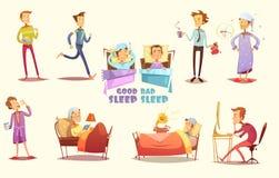Retro tecknad filmuppsättning för goda och för dåliga sömnsymboler Fotografering för Bildbyråer