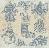 Retro teckningar för jul vid handen Royaltyfri Foto