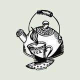 Retro- Teekanne und Schalen der Vektorillustration Stockfoto