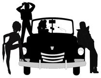 Retro teens background. Teens from retro  era with car in silhouette Royalty Free Stock Images