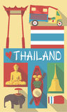 Retro Tekening van de Culturele Symbolen van Thailand Thailand Bangkok Stock Illustratie