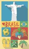 Retro Tekening van Sao Paulo Cultural Symbols van Brazilië Stock Illustratie