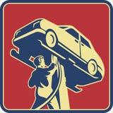 retro tekniker för bilmekanikerreparation royaltyfri illustrationer