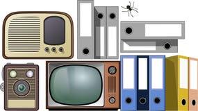 Retro teknologi och gammalmodig utrustning Arkivfoton