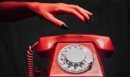 Retro telefon för allhelgonaafton Arkivfoto
