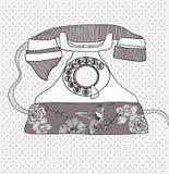 retro telefon för fågelblommamodell stock illustrationer