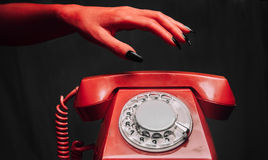 Retro- Telefon Halloweens Stockfoto