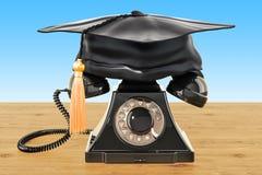 Retro telefon med avläggande av examenlocket på trätabellen, renderin 3D vektor illustrationer