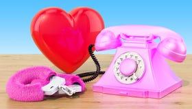 Retro telefon med röd hjärta på trätabellen, tolkning 3D vektor illustrationer
